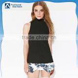 custom sleeveless tank top black fashion ladies blouse back neck design blank turtle tank top pattern for women with zipper