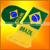 brazil football scarf knitting pattern factory selling directly (ST-SC100)
