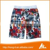 Men's fashion casual apparel 100% polyester flower printed walk shorts