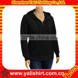 Fashionable fitness black plain cotton fleece zip-up hoodies high quality no name hoodies