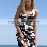 New Sexy nightclub bandage dress Printing Black&White