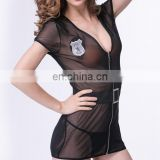 women's mesh see through zipper and belt sexy Dresses sexy lingerie thong sexy babydoll sexy sleepwear