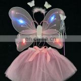 Children favors handmade beauty trendy 3 pcs LED butterfly wing with magic wand and dress wholesale party supplies