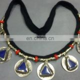 (KN-00001) Afghan Beaded coin Necklace lapis