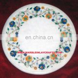 Exporter White Round Marble Inlay Table Top