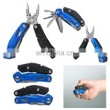 9 in 1 stainless steel and anodized aluminum multi tool with led flashlight includes four LR41 batteries