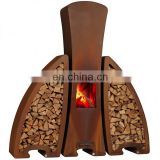 Rusty Patina Corten Steel Outdoor Fire Pit With Log Storage Box