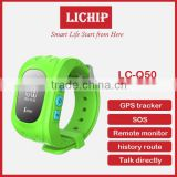 Children GPS Tracker for kids Satellite Android Monitor SOS function phone call LCD q50 smart watch