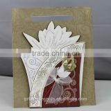 Luxury gold flower wooden wedding cards indian wedding cards invitation