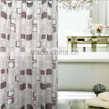 chocolate square printed 2016 new design waterproof polyester shower curtain, for family hotel use