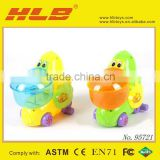Funny plastic pull string toys/pull line ducks with light for kids