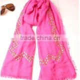 With Hot Fix Pyramid Copper Studs 2014 Latest Beautiful Fashion Lady Scarf