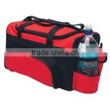 large capacity cooler duffel bag with side bottle pocket, phone holder