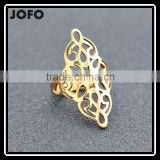 Gold/Silver Plated Stainless Steel Ring With Luxury Elegant Symmetry Geometric Patterns