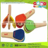 Cheap And High Quality Wooden Percussion Toys Castanets,Colorful Music Toys