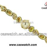 Fashion golden color bracelet bangle watch for woman with colorful stones