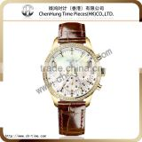 Branded genuine leather band diamond dials for mechanical wrist watches for couple plated gold china factory