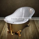 1700mm long classic slipper cast iron bath tub with gold clawfoot