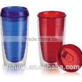 Plastic Double Wall Acrylic Tumbler with lid Printing Plastic Water Bottle with heat resistance