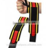 Black Wrist Wraps With Yellow And Red Strips Ci-2503-18