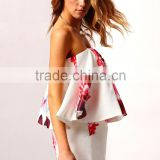 White Strapless Wholesale Playsuit Floral Print Off-Shoulder Sleeveless Romper Womens Playsuit                                                                         Quality Choice