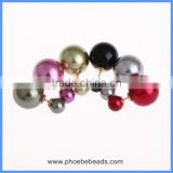Wholesale Hot Christmas Gift Two Sides Wear Round Smooth Double Plastic Ball Imitation Pearl Stud Earrings For Women CTBE16-041