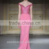 Pink Chiffon Off-Shoulder Mermaid Gown with Sequins Chiffon Ladies Evening Western Dresses (EVGH-1009)