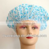 blue flower printed environmently friendly shower caps or hats for hotel and other places