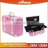 pink aluminum portable trolley beauty rolling makeup case with drawers