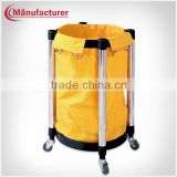 Rounded room service soiled linen trolley/roating wheels laundry stroage trolley/janitor cart