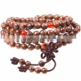 Gets.com 108 Mala Beads Silver Line Bodhi Elastic Thread Nylon Cord Red Agate Buddhist