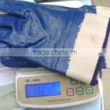 Safety Cuff Working Glove,Heavy duty blue nitrile coated, working gloves in China factory