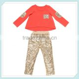 bulk wholesale kids clothing gold sequin outfit baby sets girls boutique clothing persnickety sequin ruffle girls fall boutique