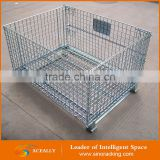 Aceally High quality demountable storage cage wire mesh pallet box/metal pallet cage