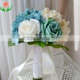 Artificial Wedding Decoration Bridal Bridesmaid Flower Girl Blue Rose Bouquet
