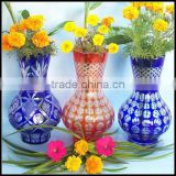 hand etched overlay flower shop best selling China glass vase