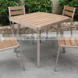 AS-3788 alum table and chair with polywood slate for garden