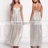 Latest Women Shine Silver Grid Metallic Cross Strap Maxi Gown Ladies Long Evening Party Wear Gown Designs HSd5040