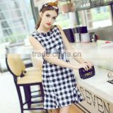 Women fashion white and black plaid beaded round neck sleeveless slim fitted ruffled bottom sun dress