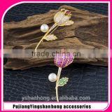 fashion Micro natural pearl inlay zircon gold-plated corsage