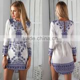 Walson F10444A 2016 ladies spring design fashion long sleeve dress print dress