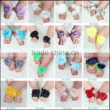 Wholesale hot sale photo props flower barefoot sandals baby footies M5052004