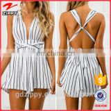 Beautiful Black & White Stripe Wrap Playsuit Casual Dress 2016 Wholesale Clothing