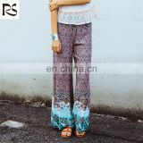 OEM wholesale Casual Wide Leg woven fabric High Waist Pants Vintage Print fashion ladies harem baggy pants