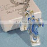 Murano Art Deco Collection Blue and Gold Cross Key Chain Religious Favors