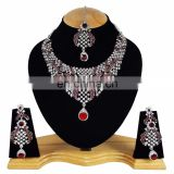 Designer Silver Plated Indian Handmade Party wear Kundan Zerconic Necklace set Dark Red Color