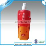 New arrival foldable plastic bottle with carabiner hook and logo printing