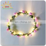 wedding decorative christmas wreath with led lights rose flower crown