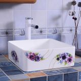 Good design wash hand ceramic tabletop colorful square bathroom wash hand basin sink from chaozhou china