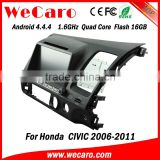 "Wecaro android 4.4.4 car gps navigation China Factory 8"" for honda civic car dvd player mirror link right hand drive 200"